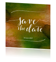 Save the date kaart met groen aquarel en kalligrafie