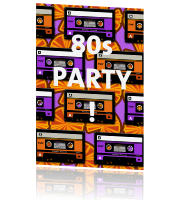 Uitnodiging 80s party met retro cassettebandjes