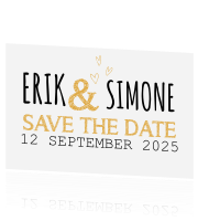 Hippe Save the Date kaart met hartjes
