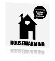 Uitnodiging housewarming in zwart-wit