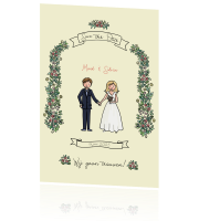 Lieve illustratieve save the date kaart