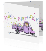 Happy birthday kaart met lila Piaggio Ape scooter