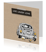 Just married kaart met de tekst live, laugh en love