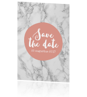 Moderne save the date kaart met roze cirkel