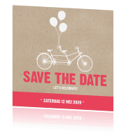 Save the Date kaart met kraft en felle hippe letters