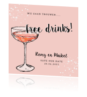 Save the Date kaart roze free drinks