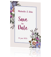 Save the Date kaart met rozen en anemoon