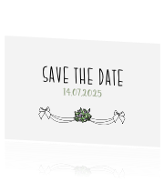 Save the Date kaart met boeket