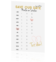 Save the Date kaart met kalender en hartjes