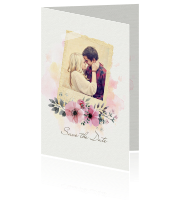 Save the Date kaart met foto, watercolor en bloemen