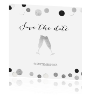 Save the Date kaart met zilver confetti