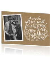 Save the Date kerstkaart op trendy kraft met foto