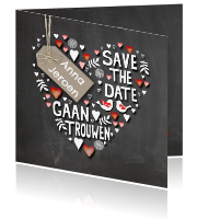 Originele save the date kaart met hartjes