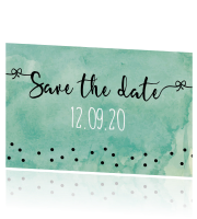 Hippe save the date kaart met watercolor