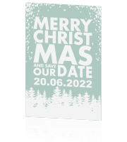 Save the date met winterse kerstbomen en sneeuw