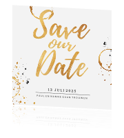Stijlvolle Save the Date kaart goud wit