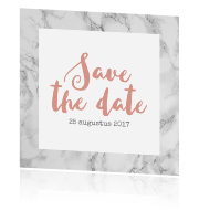 Trendy save the date kaart met marmer en kalligrafie
