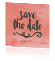 Trendy save the date kaart met roze waterverf