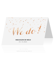 Trouwkaart met koperkleur confetti en we do