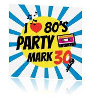 80s thema party uitnodiging met microfoon