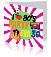 80s thema party uitnodiging met muzieknoten