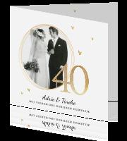 1a6f366f1bd7f9 Uitnodiging 40 jaar getrouwd met foto en hartjes