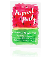 Uitnodiging Tropical Party watermeloen aquarel