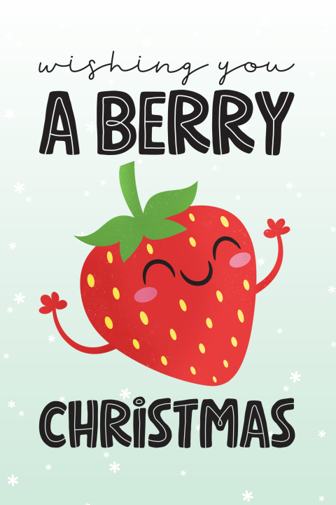 Kerstkaart grappig Wishing you a berry Christmas kawaii aardbei