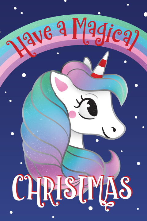 Kerstkaart Have a magical Christmas unicorn illustratie
