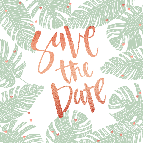 Save the Date kaart in botanical stijl en rosegoud