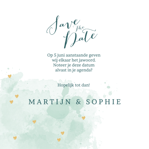 Save the date kaart met aquarel en goudkleurige hartjes