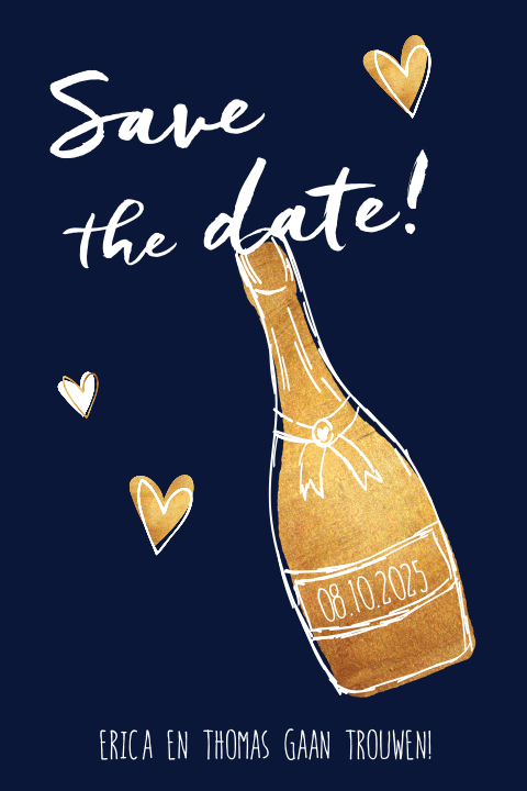Save the date kaart champagne hartjes