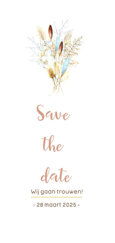 Save the date kaart met droogbloemen pampusgras