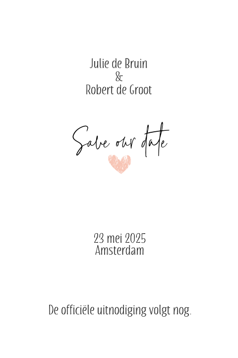 Save the date kaart clean met fotokader