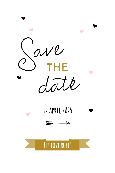 Save the Date kaart Let love rule