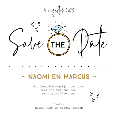 Save the Date kaart met diamanten ring