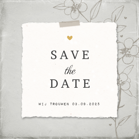 Save the date kaart papierlook