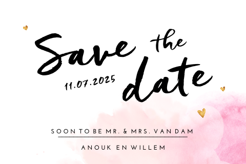 Save the Date kaart met roze watercolor en goudlook hartjes