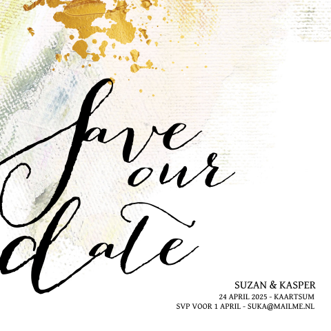 Save the Date kaart met watercolor en goudlook spetters