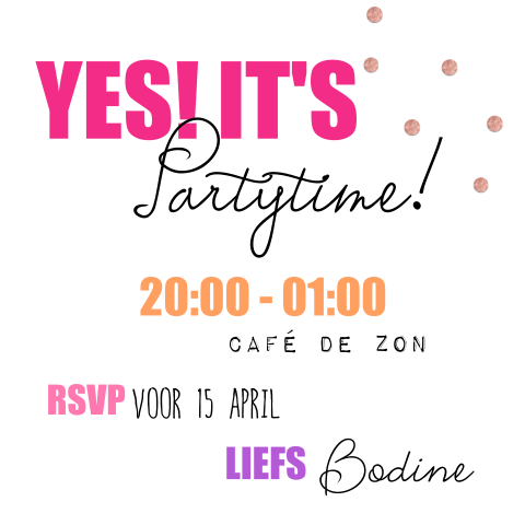 Uitnodiging foute party met roze neon letters