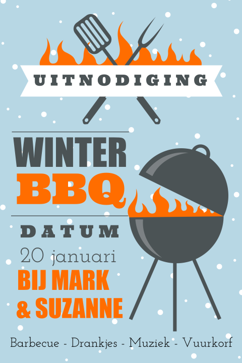Uitnodiging winter barbecue met sneeuw