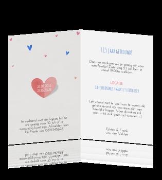 12 5 jaar getrouwd uitnodiging tekst Huwelijksjubileum kaart 12,5 jaar getrouwd met hartjes 12 5 jaar getrouwd uitnodiging tekst