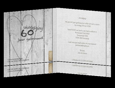 60 jarig huwelijk uitnodiging 60 jaar getrouwd   Uitnodiging met hout 60 jarig huwelijk uitnodiging
