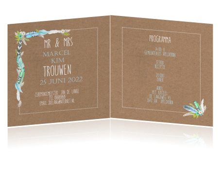 Ibiza Style Trouwkaart Met Veren En Karton