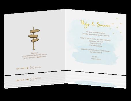 Super Trouwkaart met getekend bruidspaar en wegwijzer &UB53