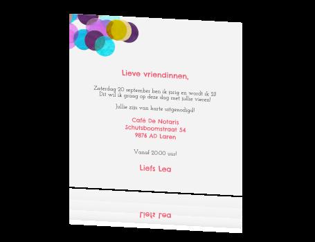 Bekend 21 diner uitnodiging met kleurrijke confetti #DD15