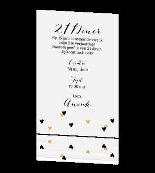 Nieuw Uitnodiging 21 diner hartjes goud tekst JW-74