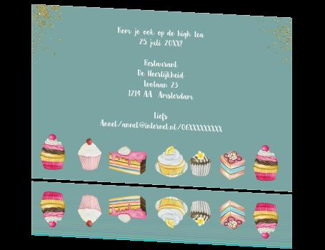 Super Uitnodiging High Tea met taartjes TV-87
