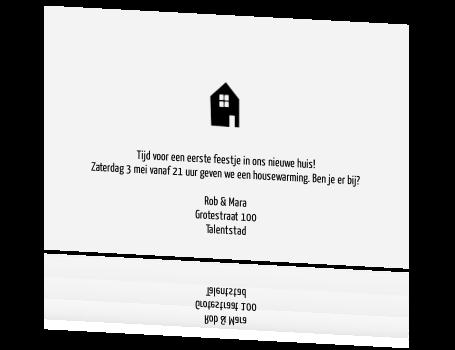 Stoere zwart witte housewarming kaart - Te vangen zwart wit ontwerp ...