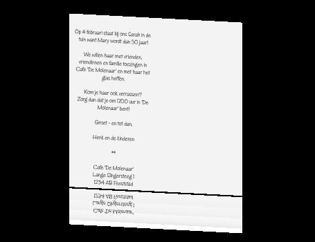 uitnodiging tekst 50 jaar sarah Sarah Kaart Tekst   ARCHIDEV uitnodiging tekst 50 jaar sarah